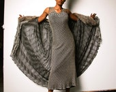 Cocoon Coat 1920s/1930's Style Open Weave Grey with Vintage Fur Collar
