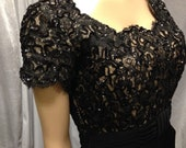 Evening Dress Lace And Sequins Bodice Vintage label Emma Domb