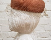 Vintage Pleated Copper Colored Fabric Hat with Netting and Velvet Bow