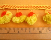 Pom-Pom Vintage Trim Orange and Yellow