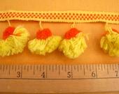 Pom-Pom Vintage Trim Orange and Yellow