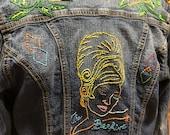 Hand Embroidered Denim Jacket Small/Medium
