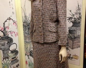 Suit With Fur Collar Wool Peach and Gray Tweed Vintage