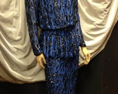 Lillie Rubin Silk 2-Piece Cobalt Blue With Black Sequins and Beads
