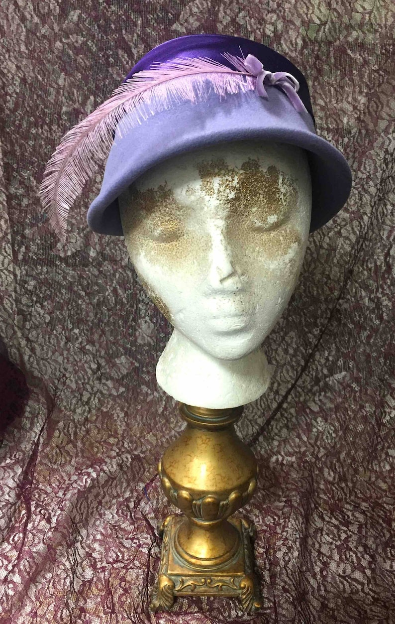 Lavender Felt Hat Vintage with Feather image 0