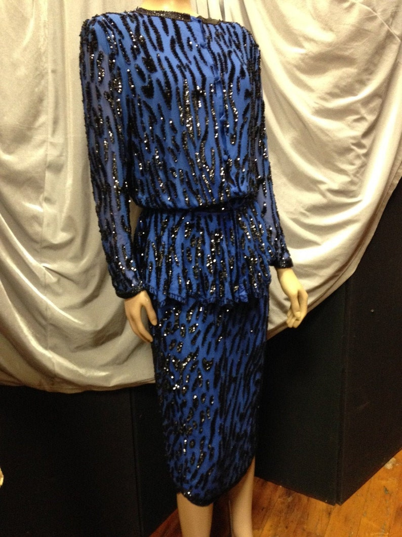 Lillie Rubin Silk 2-Piece Cobalt Blue With Black Sequins and image 0