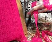Lace Trim Hot Pink