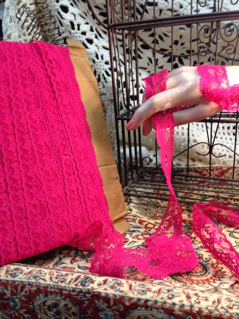Lace Trim Hot Pink image 0