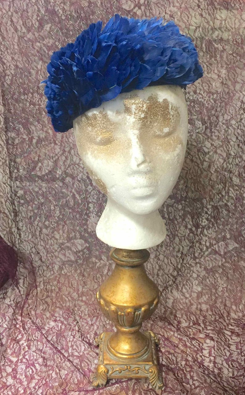Vintage Feather Hat Cobalt Blue image 0