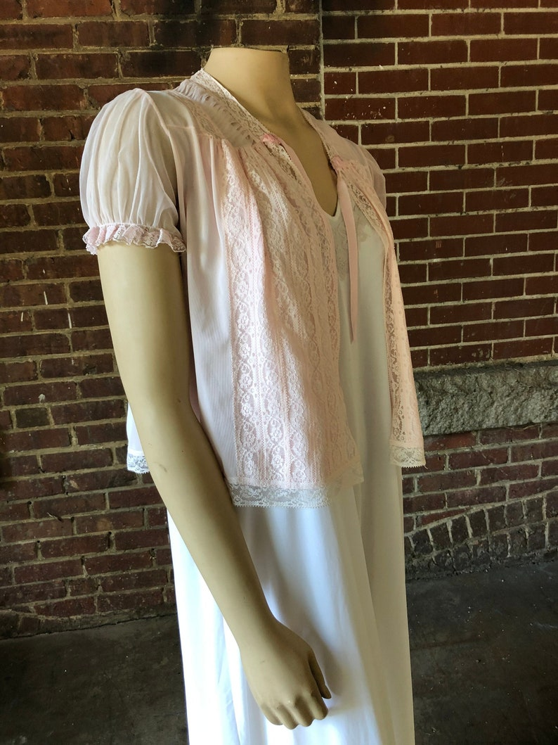 Vintage Sheer Pink Bed Jacket with Lace image 0