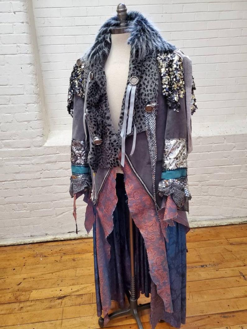 Gun Metal Grey Silver Turquoise Mardi Gras King Warrior image 0