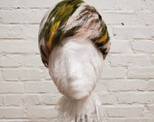 Vintage Cloche Hat All Feathers Cream Green Rust