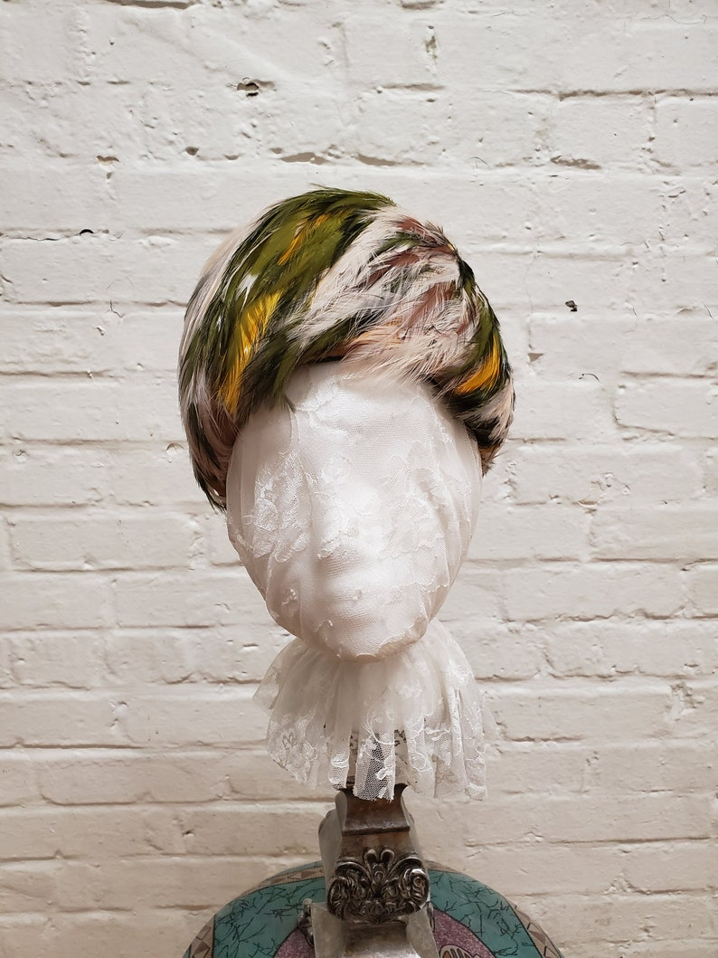 Vintage Cloche Hat All Feathers Cream Green Rust image 0