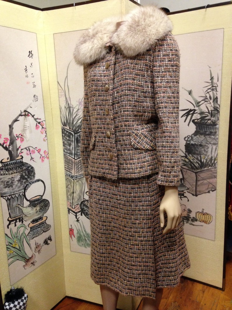 Suit With Fur Collar Wool Peach and Gray Tweed Vintage image 0