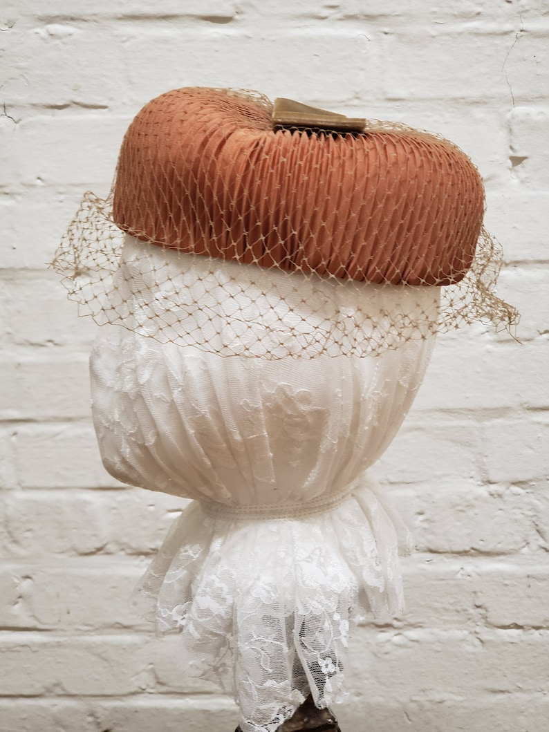 Vintage Hat Pleated Copper Colored Fabric with Netting and image 0