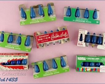 Vintage C6 Blue Christmas Bulbs in Original Box (CH1435)