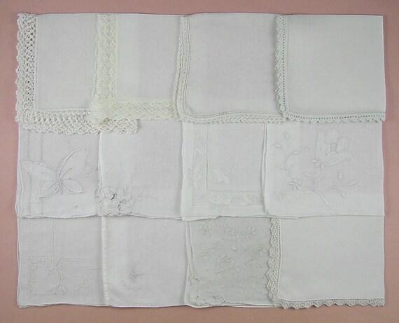 Vintage White Handkerchief Lot,Wedding Hanky Lot (