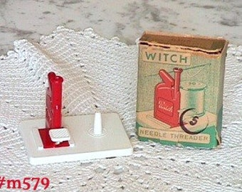 Vintage Witch Brand Needle Threader Made in West Germany, Witch Brand Needle Threader in Original Box (Inventory #M579)