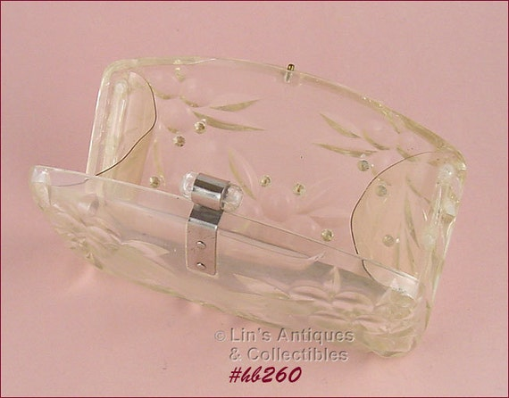 Vintage Clear Lucite Clutch Style Handbag (#HB260)