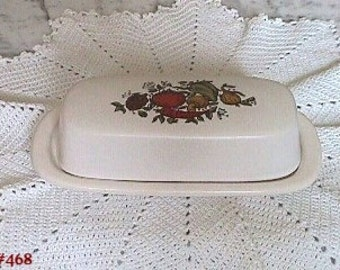 McCoy Spice Delight Butter Dish,McCoy Pottery Spice Delight,McCoy Spice Delight Covered Butter Dish (Inventory #468)