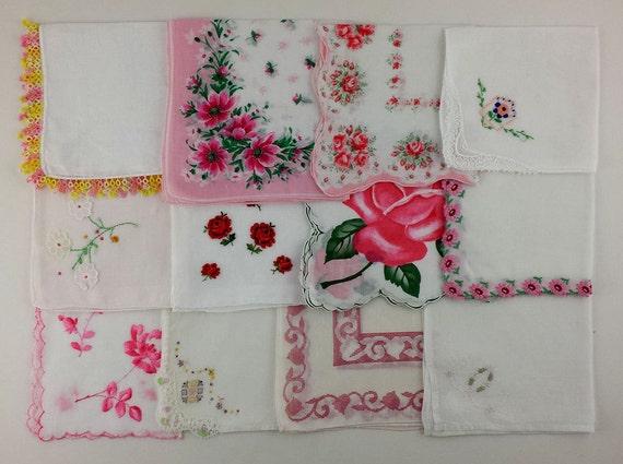Vintage Hankies lot One Dozen Handkerchiefs (Lot #