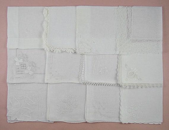 Vintage White Wedding Hankies Lot One Dozen (Lot #