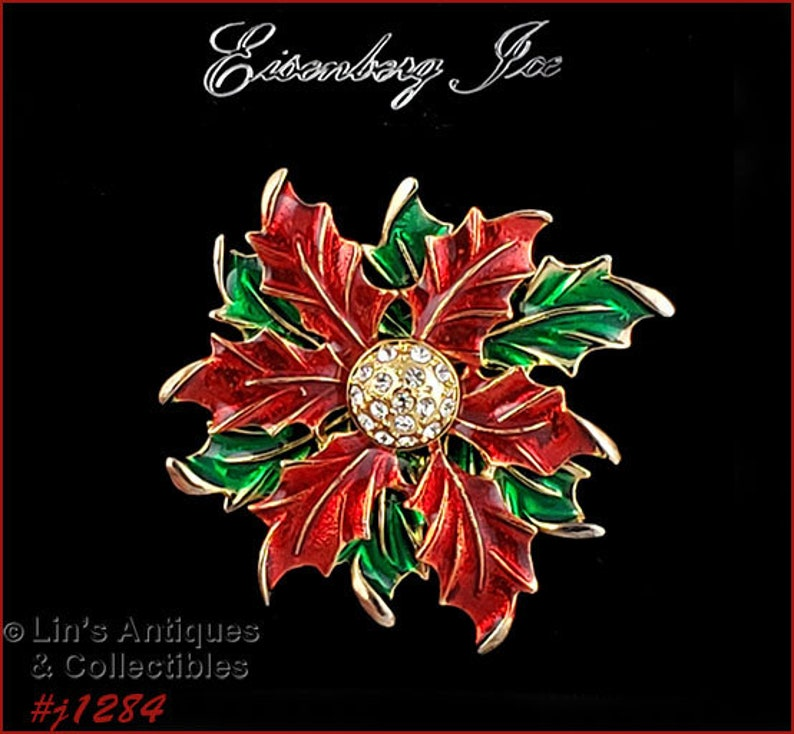 Eisenberg Ice Red and Green Poinsettia Pin and Earrings #J1284
