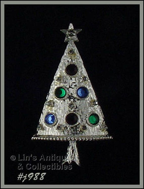 image 0 - Eisenberg Ice Christmas Tree Shaped Pin Silver Tone Tree Pin Etsy