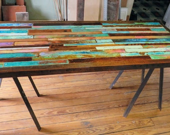 Painted Boat Wood Table, Mosaic Jewel Tone, Whimsical Painted Table,  Reclaimed, Entry Way Table, Scrap Wood Desk, Industrial Accent Table.
