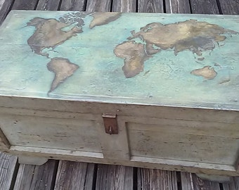 Superb Primitive Trunk With Nautical World Map, Painted Trunk Coffee Table,  Repurposed Vintage Carpenteru0027s Tool Box, Original Patina