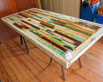 Painted Boat Wood Table, Distressed White Mosaic With Whimsical Color,  Reclaimed, Entry Way Table, Scrap Wood Desk, Industrial Accent Table.