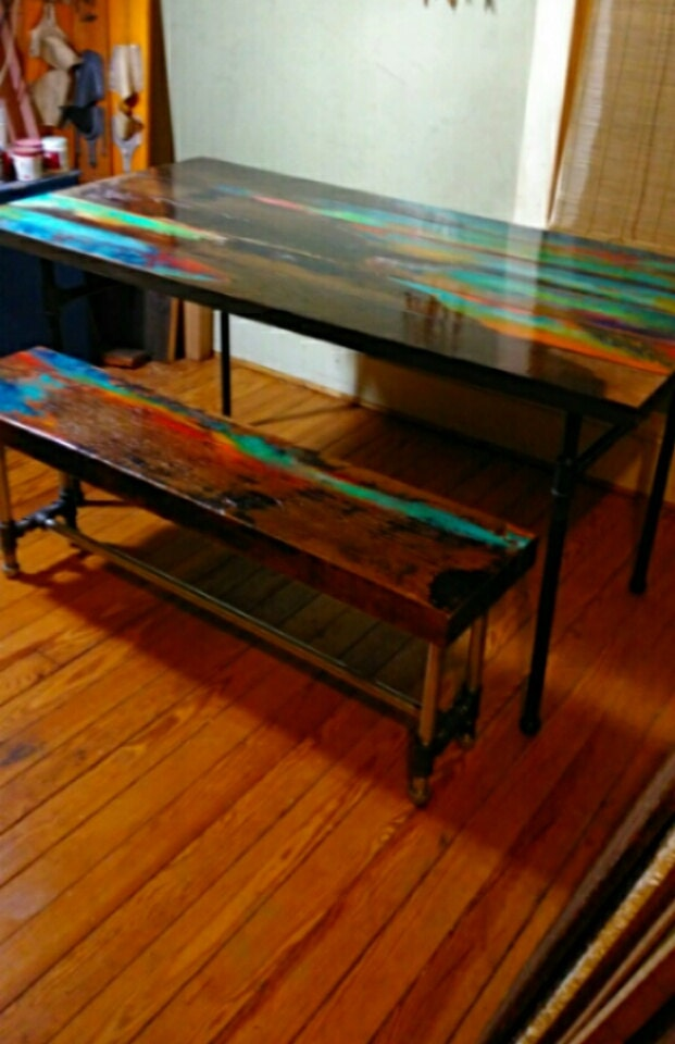 Surprising Custom Order Painted Dining Table And Bench Rustic Reclaimed Industrial Black Pipe Rough Sawn Salvage Machost Co Dining Chair Design Ideas Machostcouk