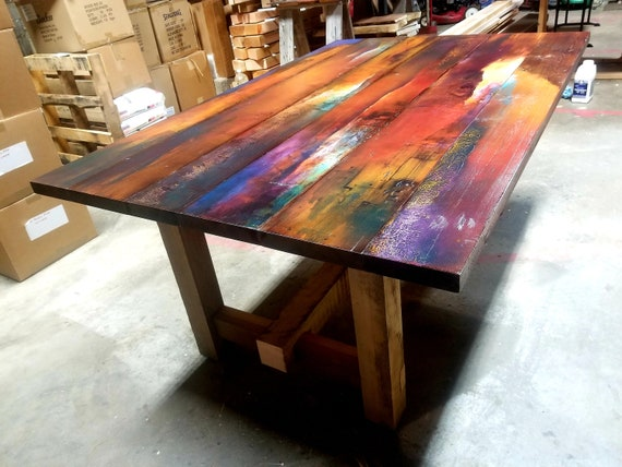 Modern Farmhouse Dining Table Hand Painted Kitchen Table Etsy