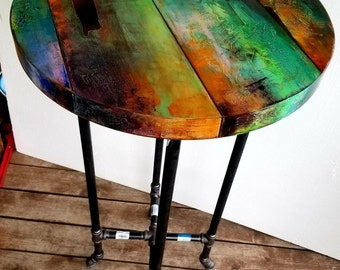 whimsical hand painted bistro table, crazy funky colorful round industrial furniture, boho decor, colorful pub table