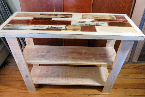 Rustic Reclaimed Wood Mosaic Console Table With Shelves, Distressed Sofa  Table, Farmhouse Decor, Primitive Table, Distressed White Wood