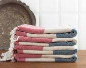 Turkish Towel, Super-soft, Blue and Red, Stripes, Peshtemal
