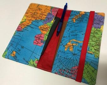 World map Travel wallet, passport holder, travel organizer, organizer, reisportefeuille, paspoorthouder, de organisator van de reizen
