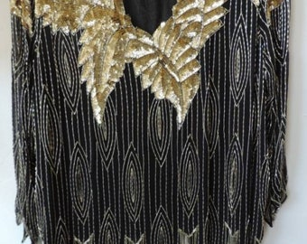 db4b4b9610 Art Deco Heavily Beaded Sequin Top XL Plus Flapper Top 1980 s Vintage Black  Gold Flashy Black Tie Wedding Gift for Her