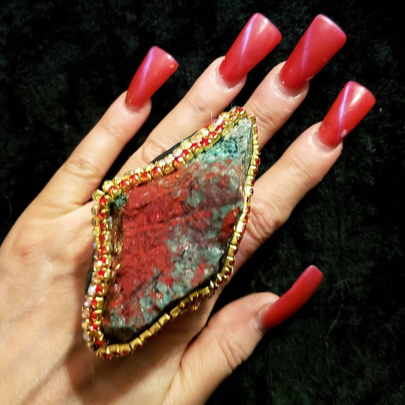Sonora Sunset Sonora Sunrise Rough Nugget Statement Ring KATROX Badass Jewelry Wearable Art Ring Huge Stone Cocktail Ring Red Green Black