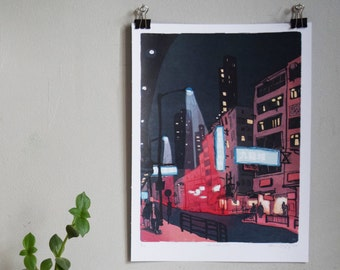 """九龍城 KOWLOON CITY - Hong Kong 香港 Art Print - Kowloon City 九龍 Architecture Illustration - 9x12"""" poster"""