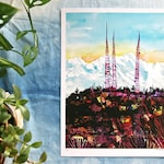 """QUEEN ANNE TOWERS - Seattle & Olympic Mountains Watercolor Illustration - 9x12"""" Digital Print Pacific Northwest"""