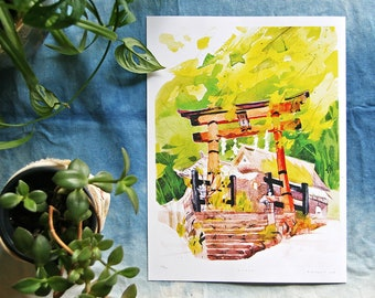 KYOTO 京都 | Torii at the Shinto shrine 鳥居 | 9x12 Japan Illustration art print