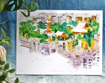 "ASAKUSA 浅草  | Senso-ji Temple, Tokyo, Japan 東京 日本 | 12 x 9"" illustration art print"