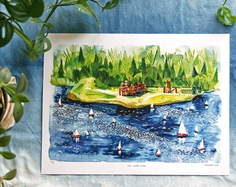GAS WORKS PARK / Seattle Watercolor Art Print / Sailing on Lake Union / Duck Dodge! / 9x12 limited edition illustration