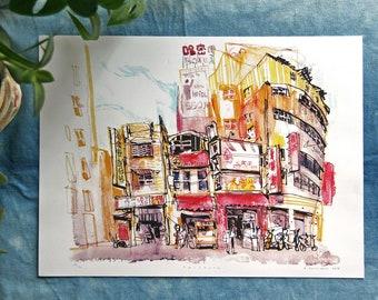 "TAICHUNG CITY 台中 | Taiwan 台灣 Urban Sketch Mixed Media Illustration Art | 9x12"" Digital Print"