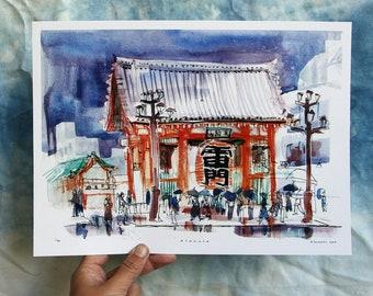 "KAMINARIMON 雷門 THUNDER GATE  | Sensō-ji Temple, Asakusa, Tokyo, Japan | 浅草 • 東京 • 日本 | 12 x 9"" illustration art print"