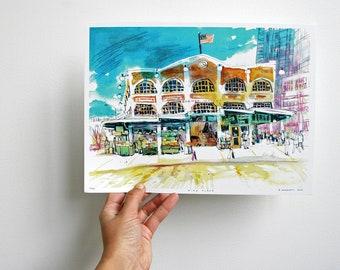 "CORNER MARKET | Pike Place Market, Seattle | 12 x 9"" digital art print | watercolor mixed media architecture illustration"