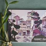 COCONUT + RICE   free shipping!   40 pp hand bound artist travel sketchbook   urban sketching, southeast asia, hong kong, thailand, vietnam