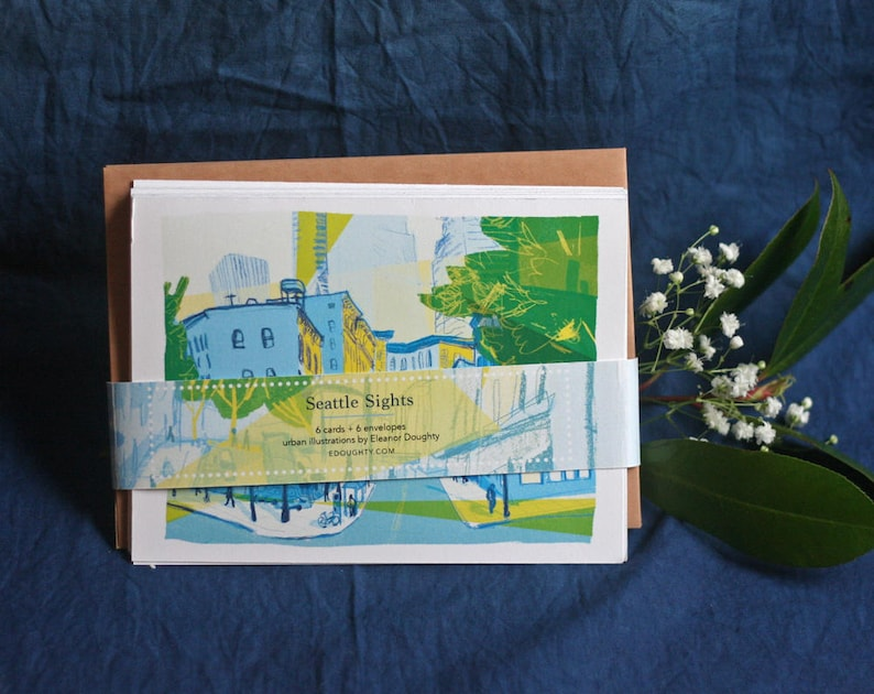 SEATTLE SIGHTS  urban PNW blank greeting card set with image 0