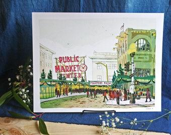 PIKE PLACE MARKET | Seattle Illustration Art Print | 11x14